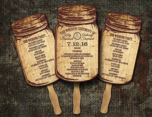 Mason Jar Wedding programs Fans/hand fans bulk/Rustic Wedding/Country Wedding/(Pack of 10) - Bulk Program