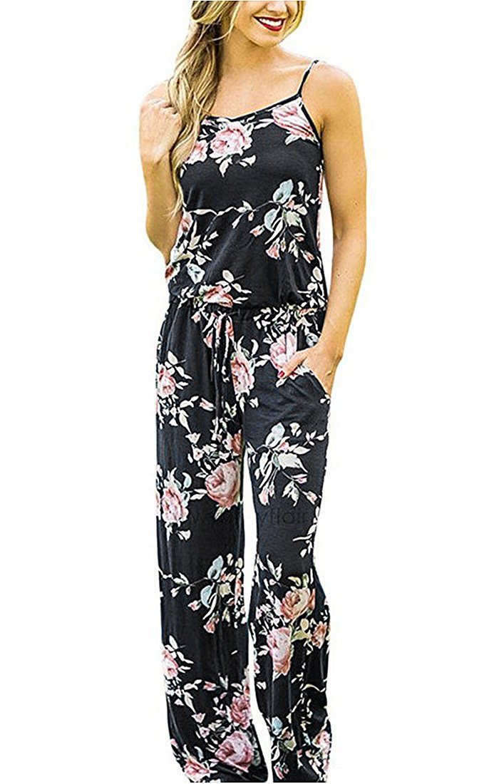 Adibosy Women Summer Floral Print Halter Sleeveless Jumpsuit Bohemian Wide Long Pants Rompers with Pockets Black M