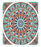 Chaoran 1 Fleece Blanket on Amazon Super Silky Soft All Season Super Plush Moroccan Decor Collection Floral Geometry Complex Design Medallion Middle Agesymbolic Tribal Artwork Fabric Extra Teal Orange