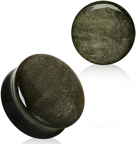 Pair Mahogany Obsidian Organic Stone Ear Plugs Gauges Flesh Tunnels Expander
