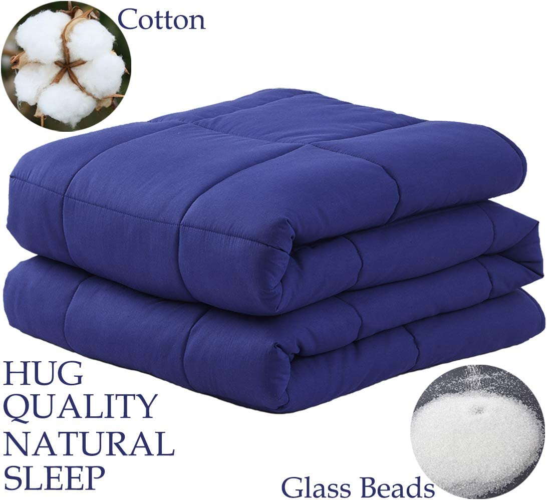 """LBRO2M Weighted Blanket Cooling for Adults and Kids,100% Natural Cotton Bed Heavy Blanket with Premium Safe Glass Beads,Enjoy Deep Sleep Like A Baby (Navy Blue, 20 lbs-48""""x72"""")"""