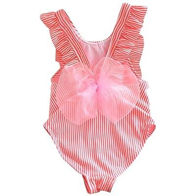 Baby Girls Lace Bowknot Swimsuit Toddler Kid Girls One Piece Swimwear Ruffle Bathing Suit Beachwear