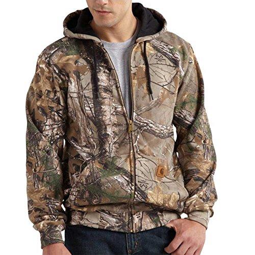 Carhartt Men's Midweight Sweatshirt Work Camo Hooded Zip Front,Realtree Xtra,Medium