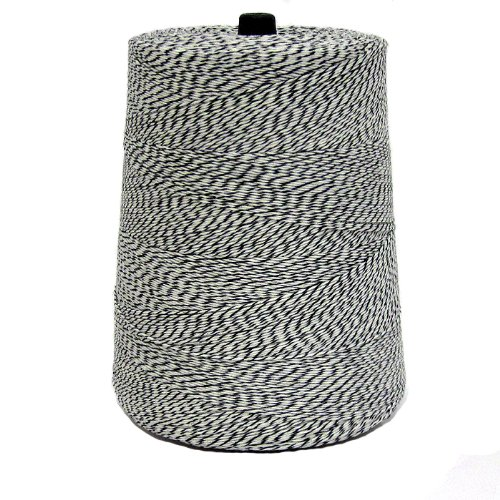 Packaging Twine, 4 Ply, Black and White. 2 lb Cone, 3,360 Yards