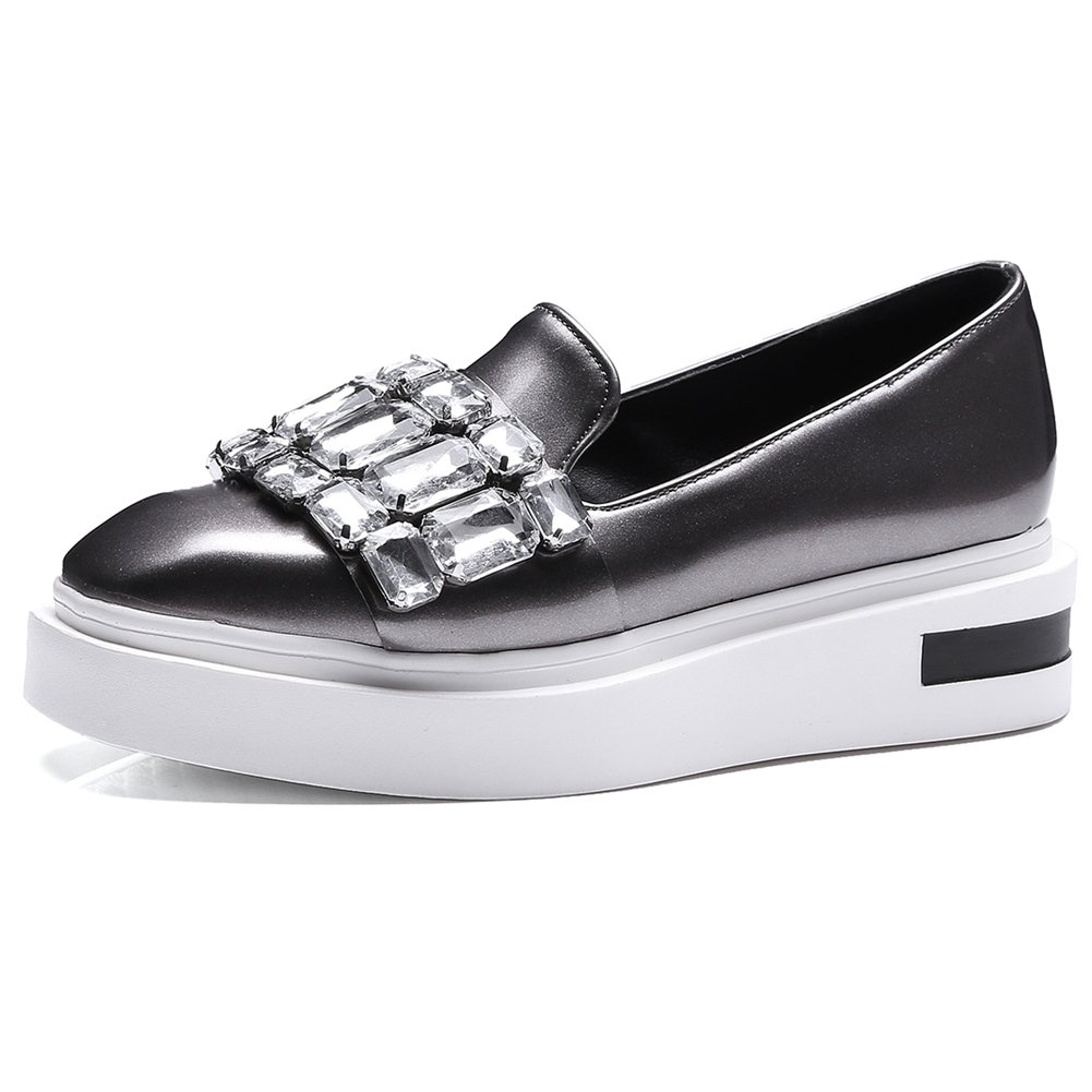 DecoStain Women's Stylish Rhinestone Decoration Comfortable Platform Wedge Heels Loafers Dress Flat Sneakers Trainers Shoes