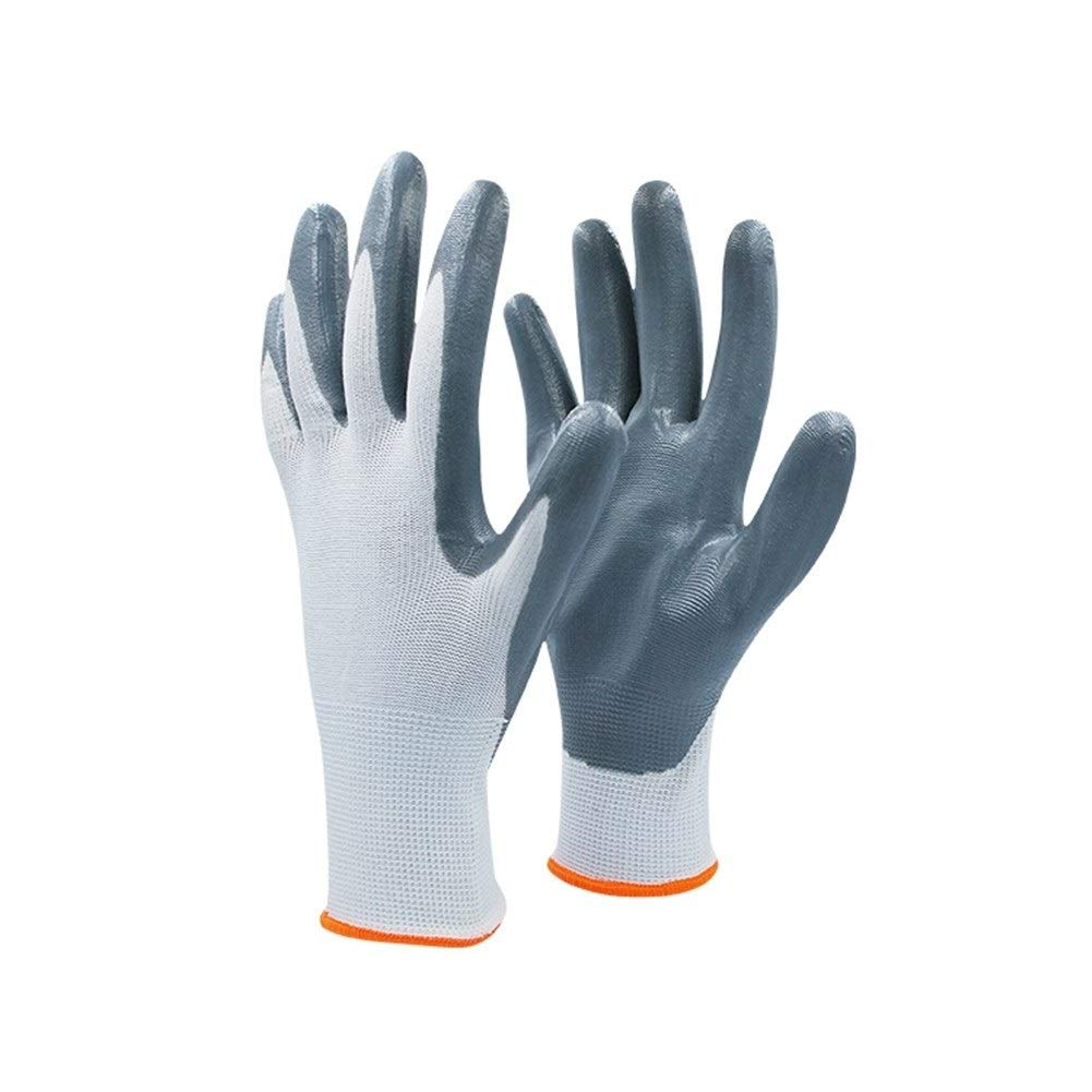 Protect Protective Garden Gloves Nitrile Coated Gardening Maintenance Work Garden Gloves Orange Cuffs,10 Pairs Safe (Color : Blue 20 Pairs, Size : L)