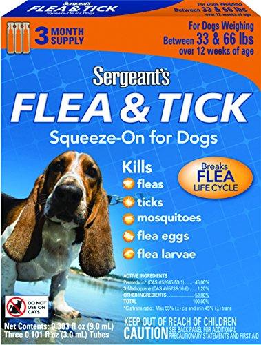 Sergeant's Flea & Tick Squeeze-On For Dog, Over 33 - Tick Flea Sergeants And