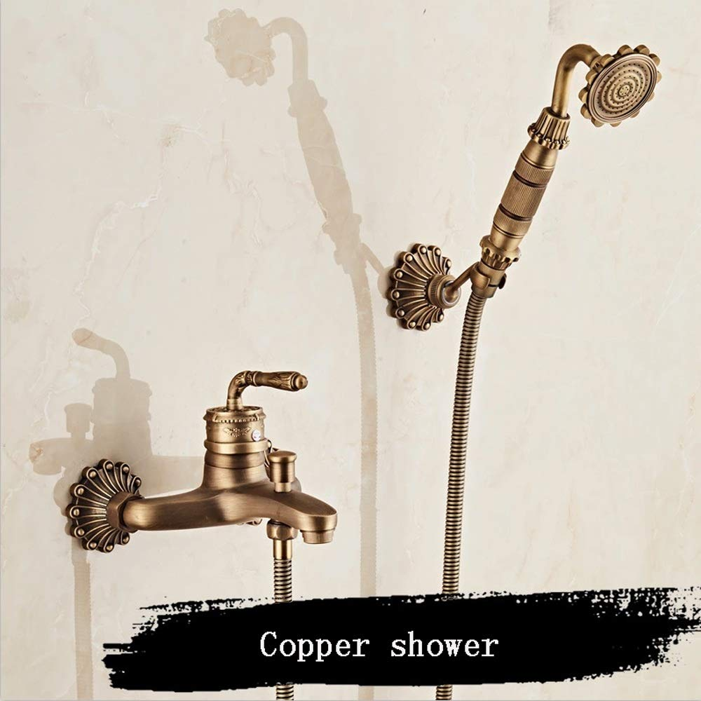 B Vinteen Antique Copper Classic Bathroom Shower Faucet Bath Faucet Mixer Tap With Hand Shower Head Set Wall Mounted Hot And Cold Take A Shower Bathroom Mixing Valve (Size   A)