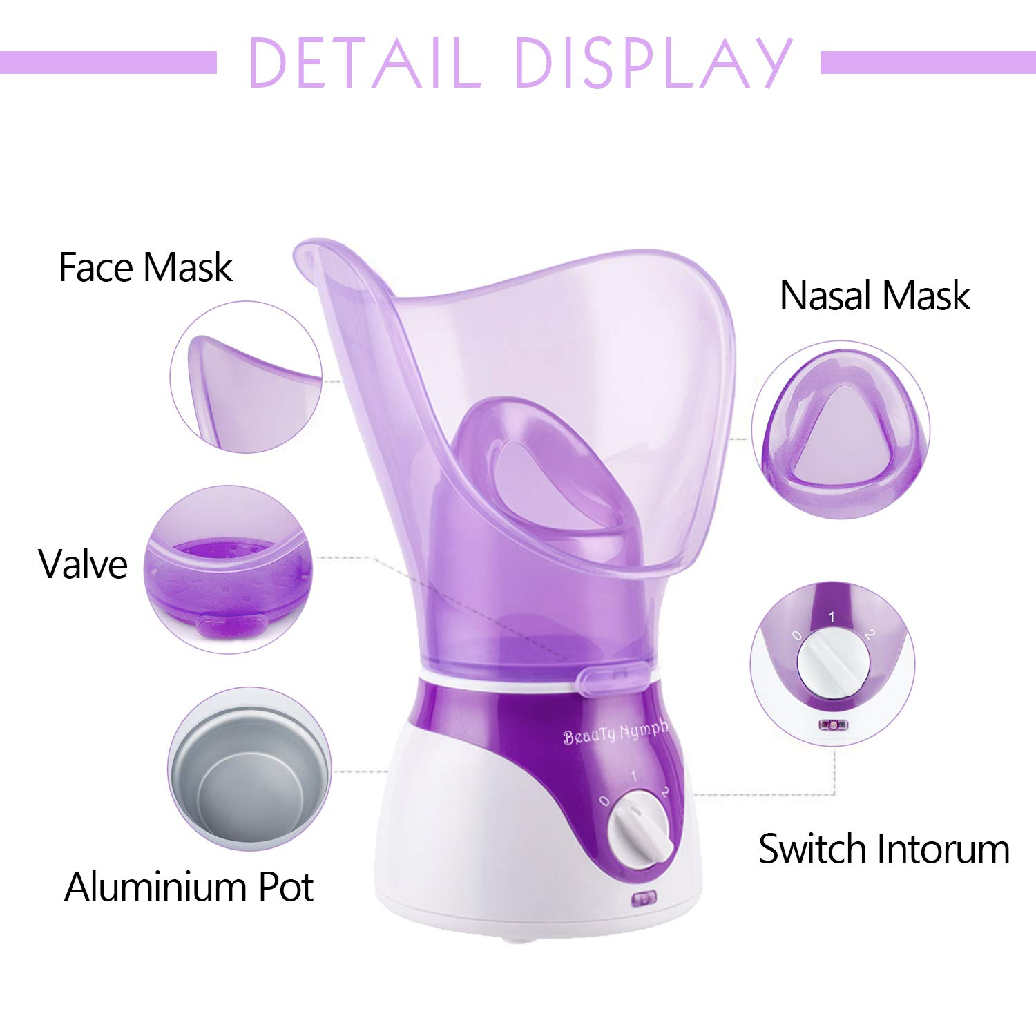 Beauty Nymph Spa Home Facial Steamer Sauna Pores with Timer and Extract Blackheads, Rejuvenate and Hydrate Your Skin for Youthful Complexion- Face Steaming Skincare Deep Cleanse SPA (Purple A): Beauty