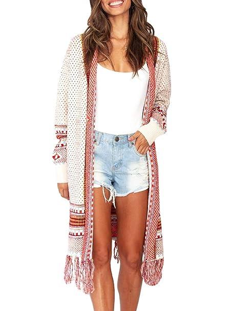 8721f7e5757 Ferbia Women Boho Cardigan Open Front Long Maxi Knit Sweaters Aztec Tribal  Tassel Fringe Thin Coat