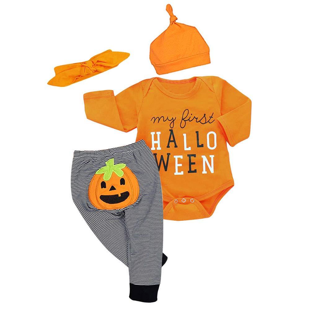 Newborn Halloween Baby Boy Girl Clothes Pumpkin Pants Long Sleeve 4pcs Outfits Set My First Halloween