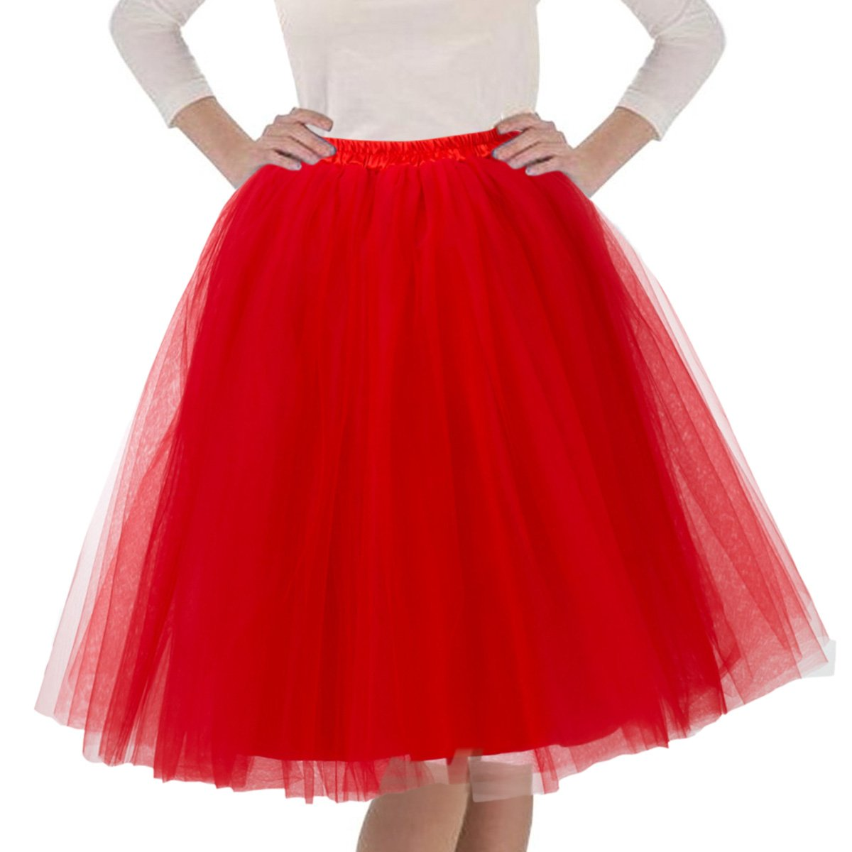 Quesera Women's Layered Tutu A Line Knee Length Elastic Waistband Puffy Tulle Skirt,Red,Free size fit in 2-12