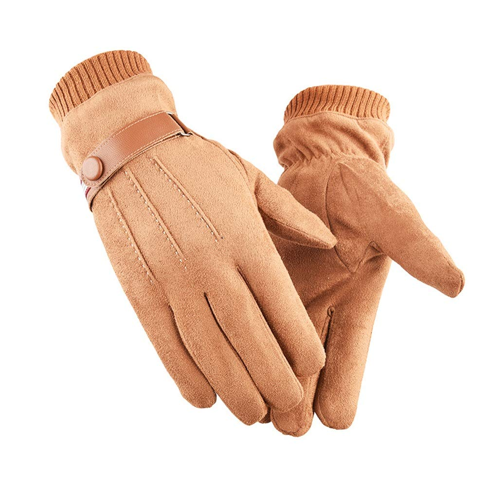AINIYF Full Finger Gloves | Suede Men's Winter Warm Outdoor Gloves Cycling Motorcycle Outdoor Sports Plus Velvet Wind Screen (Color : Yellow)