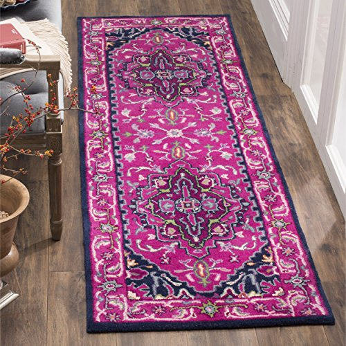 Safavieh Bellagio Collection BLG541C Pink and Navy Bohemian Medallion Premium Wool Runner (2'3