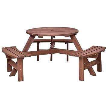 Picknick Tisch 6 Personen Sitz Terrasse Esszimmer Sitz Bank Set Pub Garten  Yard Holz