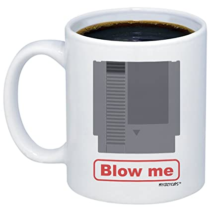 MyCozyCups Funny Gamer Gift - Blow Me Coffee Mug - Funny Video Game  Cartridge Meme Novelty 11oz Pun Gag Gift Cup For Best Friend, Brother, Son,  Him,