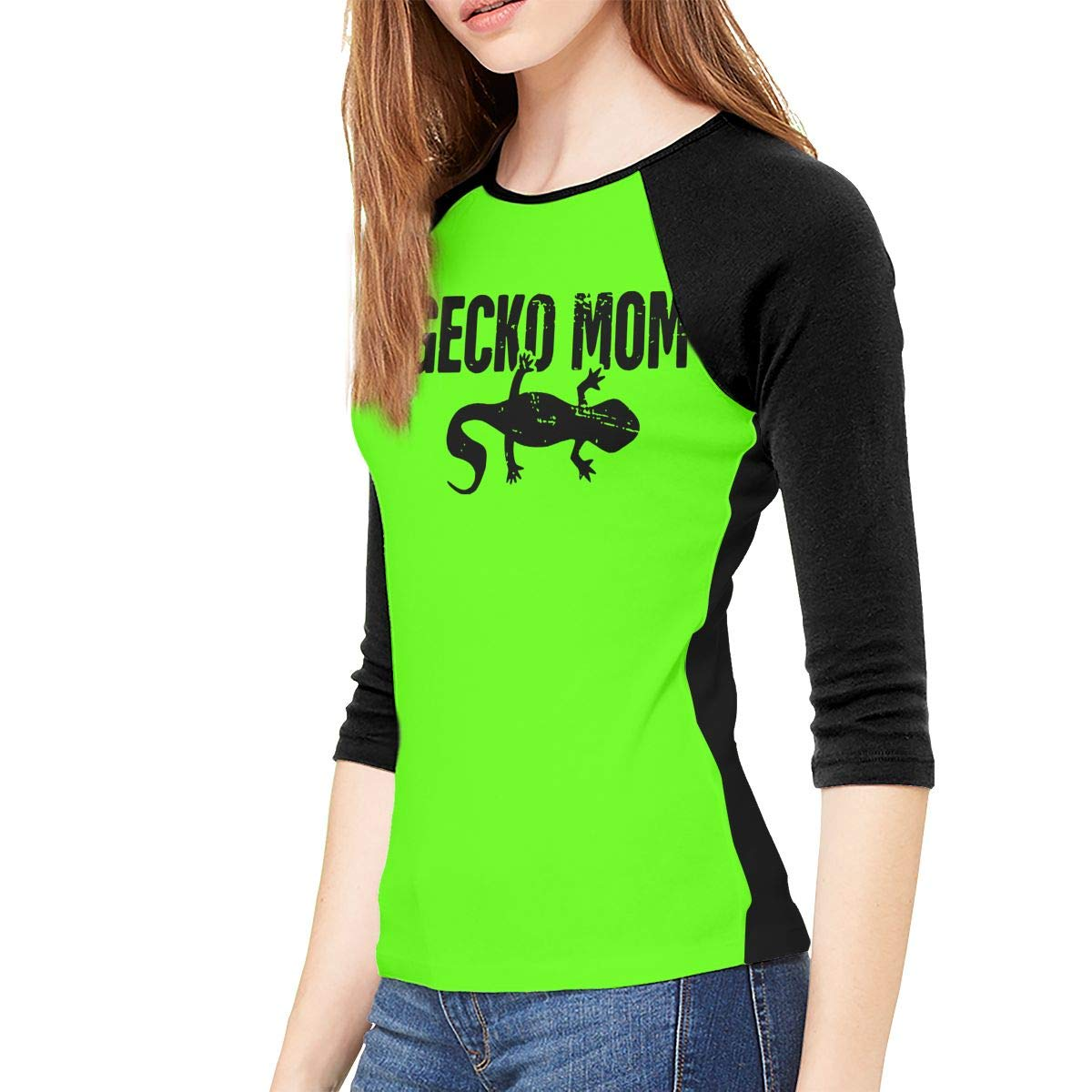 XYMYFC-E Gecko Mom Leopard Gecko Graphic Adult Womens Long Sleeve T-Shirt