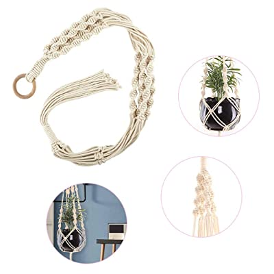 QIUUE Macrame Plant Hangers Hand-Woven Tapestry Flower Basket Hanging Plant Holder Bohemian Decor Plants (A): Clothing