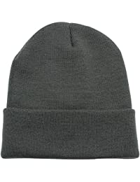 Beanie Men Women - Unisex Cuffed Plain Skull Knit Hat Cap