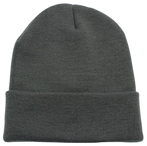 (Top Level Unisex Cuffed Plain Skull Beanie Toboggan Knit Hat/Cap, Dark Grey)