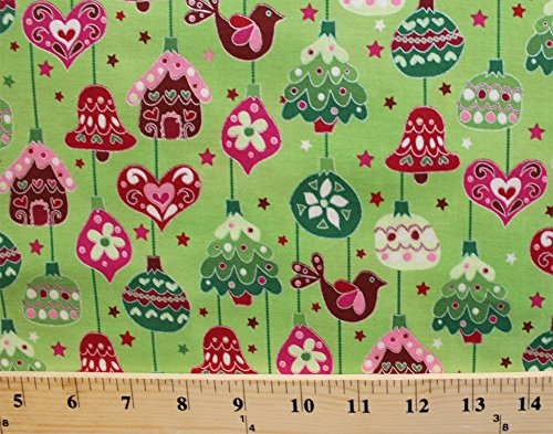 Bell Ornament Pearl - Cotton Christmas Ornaments Bells Gingerbread Houses Birds Christmas Trees Stars Winter Holidays Festive Decorations Evergreen Mistletoe Pearl Green Cotton Fabric Print by the Yard (j9219-129)