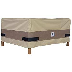 "Duck Covers Elegant Rectangular Patio Ottoman or Side Table Cover, 52"" L x 30"" W x 18"" H"