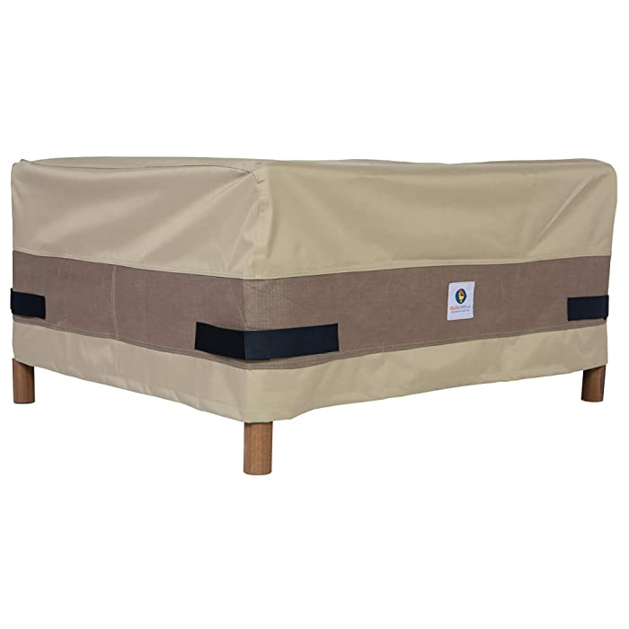 """Duck Covers Elegant Rectangular Patio Ottoman or Side Table Cover, 52"""" L x 30"""" W x 18"""" H"""