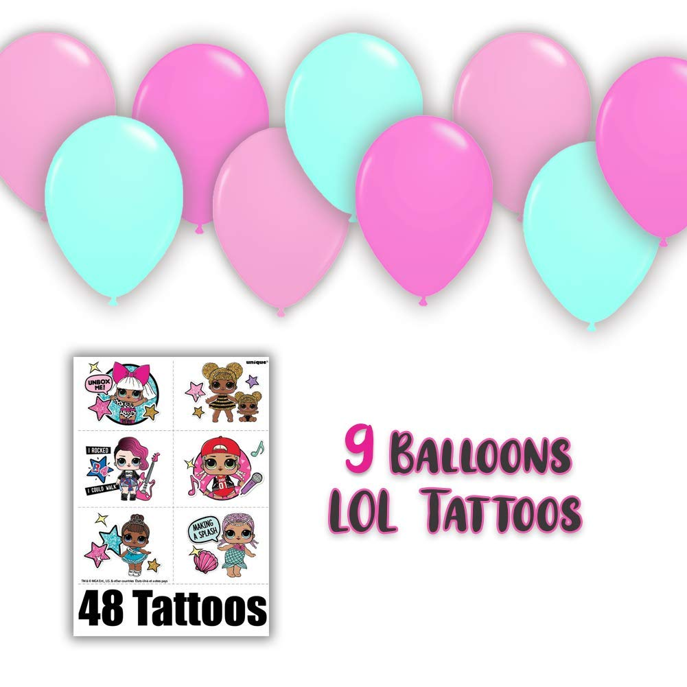 LOL Suprise Party Supplies, Serves 16 - Plates, Napkins, Tablecloth, Cups, Straws, Balloons, Tattoos, Birthday Hats - Full Tableware, Decorations, Favors for L.O.L Collectors by HeroFiber (Image #5)