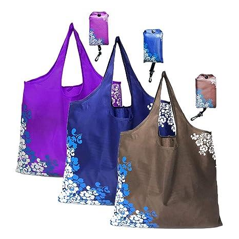 GAOYI Bolsa de Compras, Bolsas de Compras Reutilizables, Bolsas de Compras Plegables Reutilizables, Paquete de 3, Lavable a máquina, Duradero, liviano