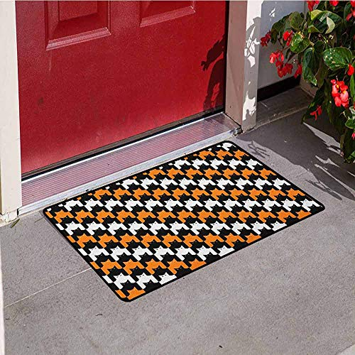 GloriaJohnson Halloween Inlet Outdoor Door mat Digital Style Catstooth Pattern Pixel Spooky Harvest Fashion Illustration Catch dust Snow and mud W29.5 x L39.4 Inch Orange Black White