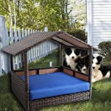 LEAPTIME Outdoor Pet House PE Rattan Pet Home Patio Dog House Indoor Garden Playpen Cat Rabbit House w/Roof Cushion-Royal Blue Review