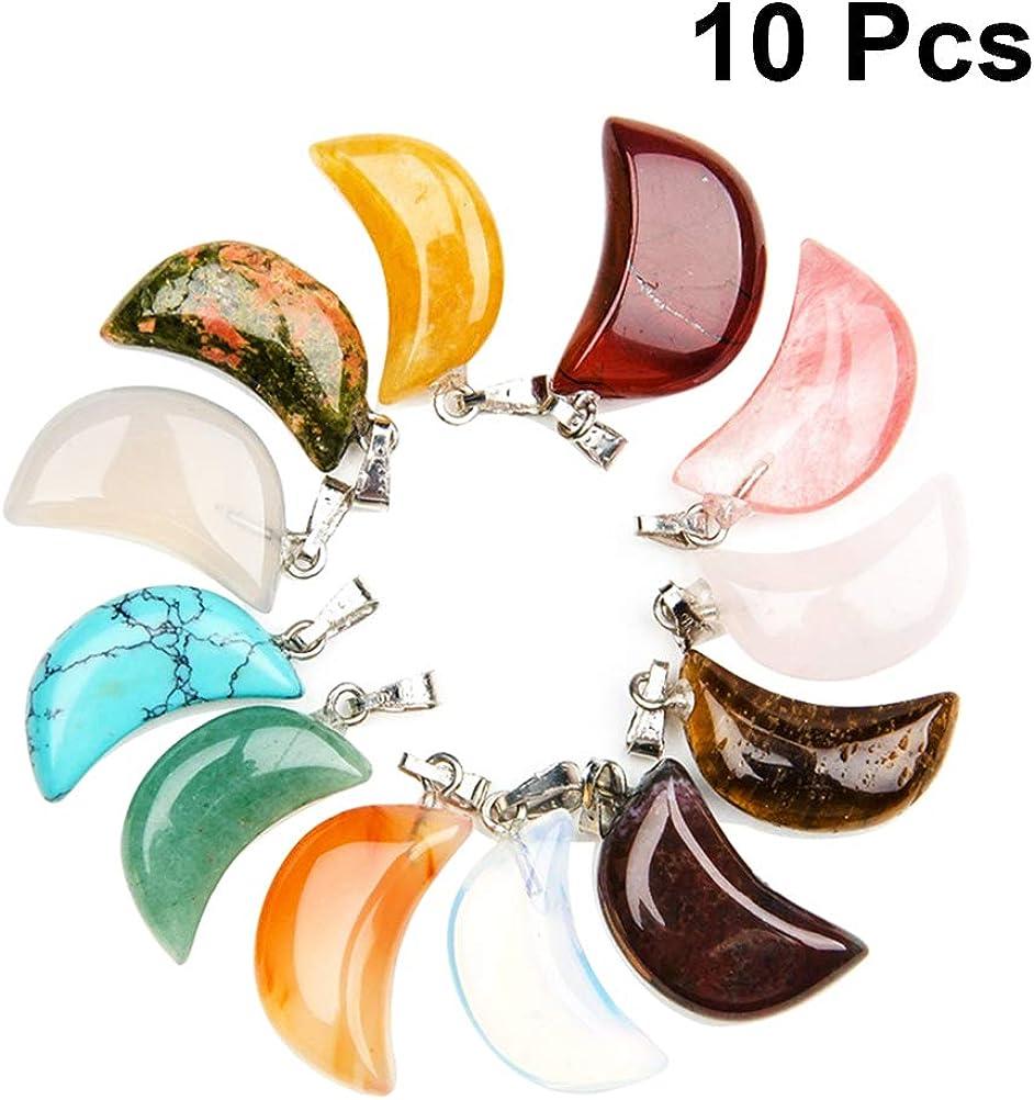 SUPVOX 10Pcs Colgantes en Forma de Luna de Cristal Natural Colgantes de Piedras Preciosas Hacer Pulseras de Collar