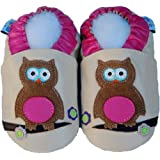 baby soft leather shoes, Jinwood - owl pink