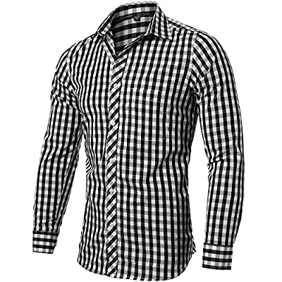 INFLATION Men's Slim-Fit Long Sleeve Plaid Shirt Casual Button Down Collar Shirt Dress Shirt 100% Cotton 8-Color