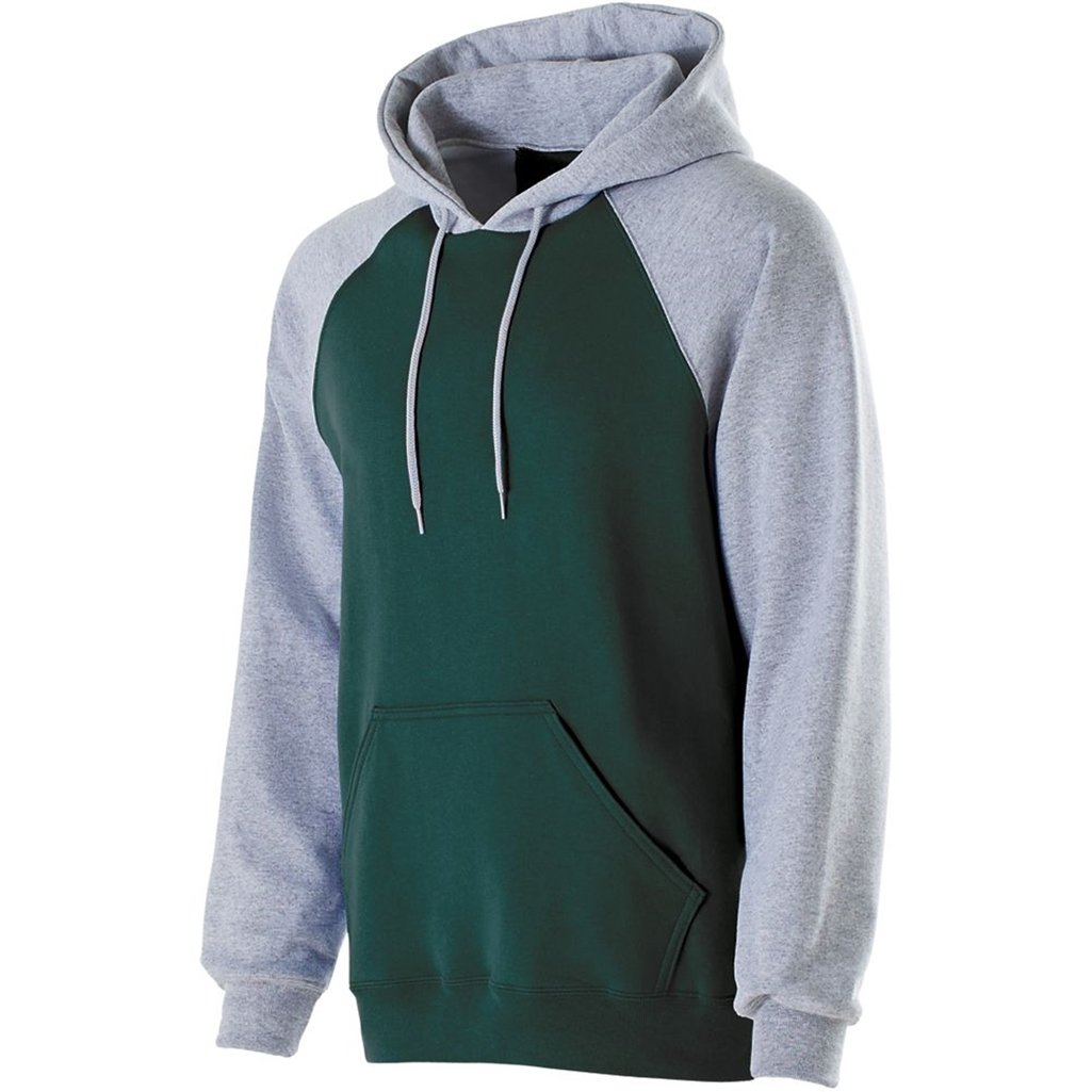 Holloway Youth Banner Hoodie (Medium, Forest/Athletic Heather) by Holloway
