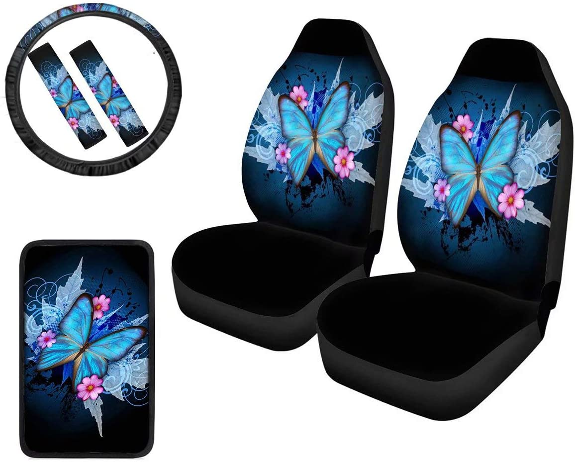 Butterfly 6-Pack Combo Car Seat Covers Set with Steering Cover+Seat Belt Pad+Center Console Armrest Cushion Gift for Women and Men