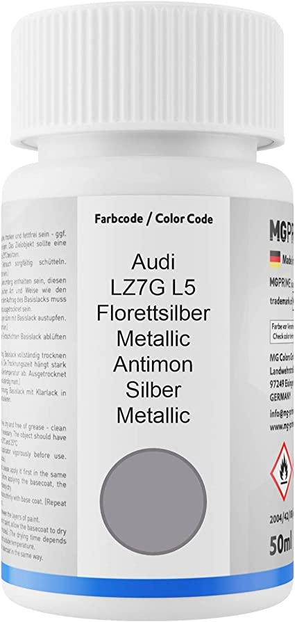 Mg Prime Autolack Lackstift Set Für Audi Lz7g L5 Florettsilber Metallic Antimon Silber Metallic Basislack Klarlack Je 50ml Auto