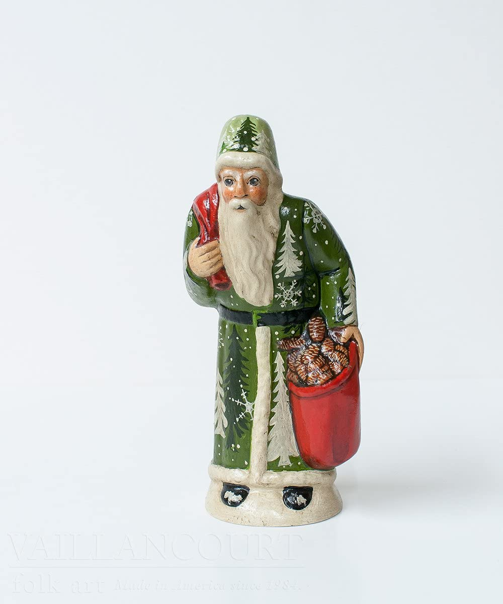 Vaillancourt Folk Art Hunched Father Christmas with Green Forest Coat