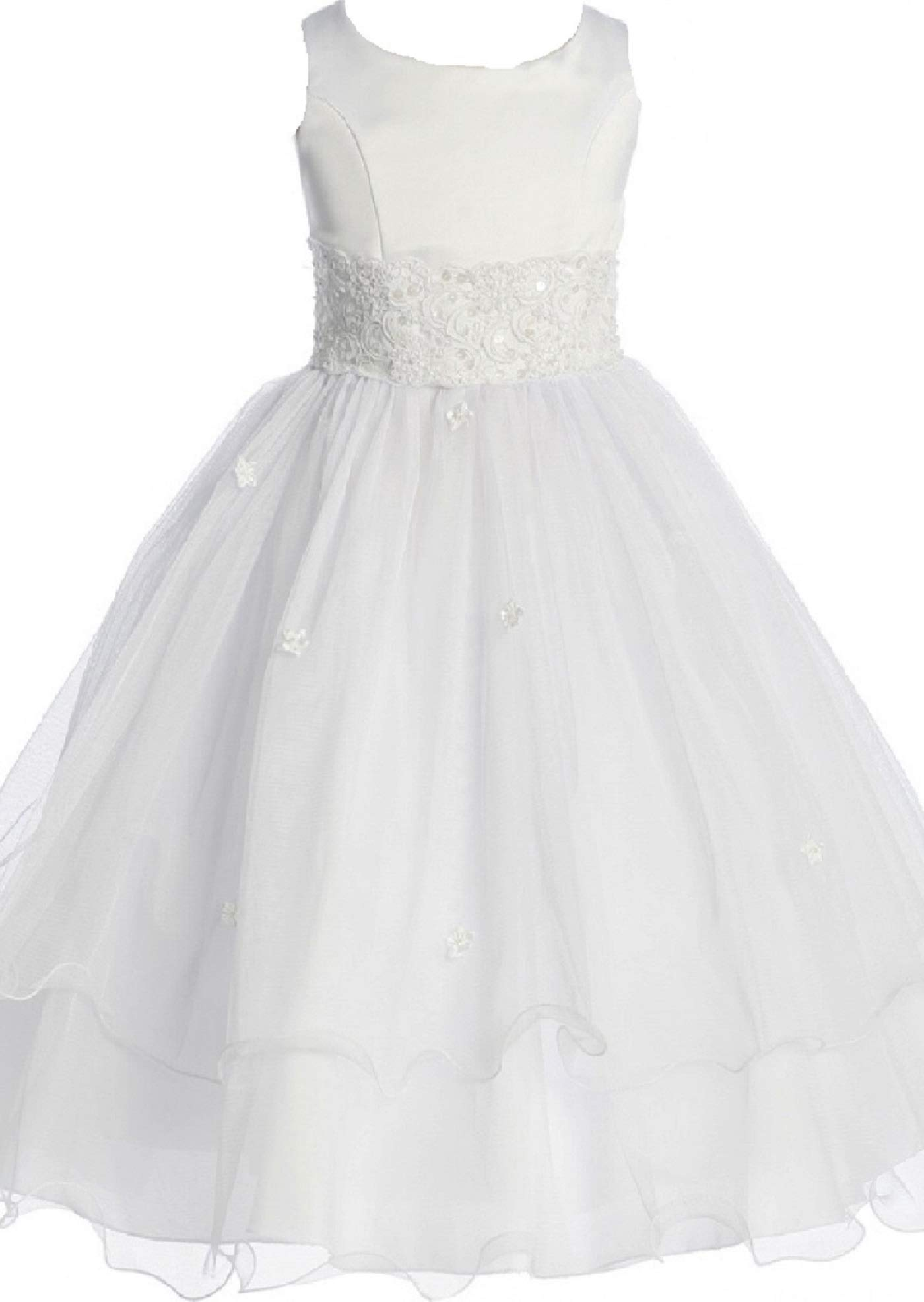 Flower Girl Dress First Communion Sleeveless Embroidery Tulle Dress Big Girl White 8 KD.198