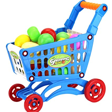 Thboxes Plastic Supermarket Toys Shopping Cart with Fruits Miniature Food Play Baby Early Educational Toy Blue