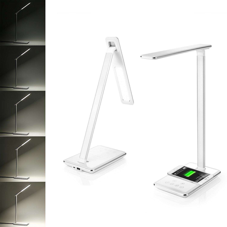 bianco Lampada da Tavolo LED con Caricatore Wireless Qi per Scrivania 4 Livelli Dimmerabili Lampada da Scrivania Senza Fili Pannello di Controllo Sensibile Porta di Ricarica USB