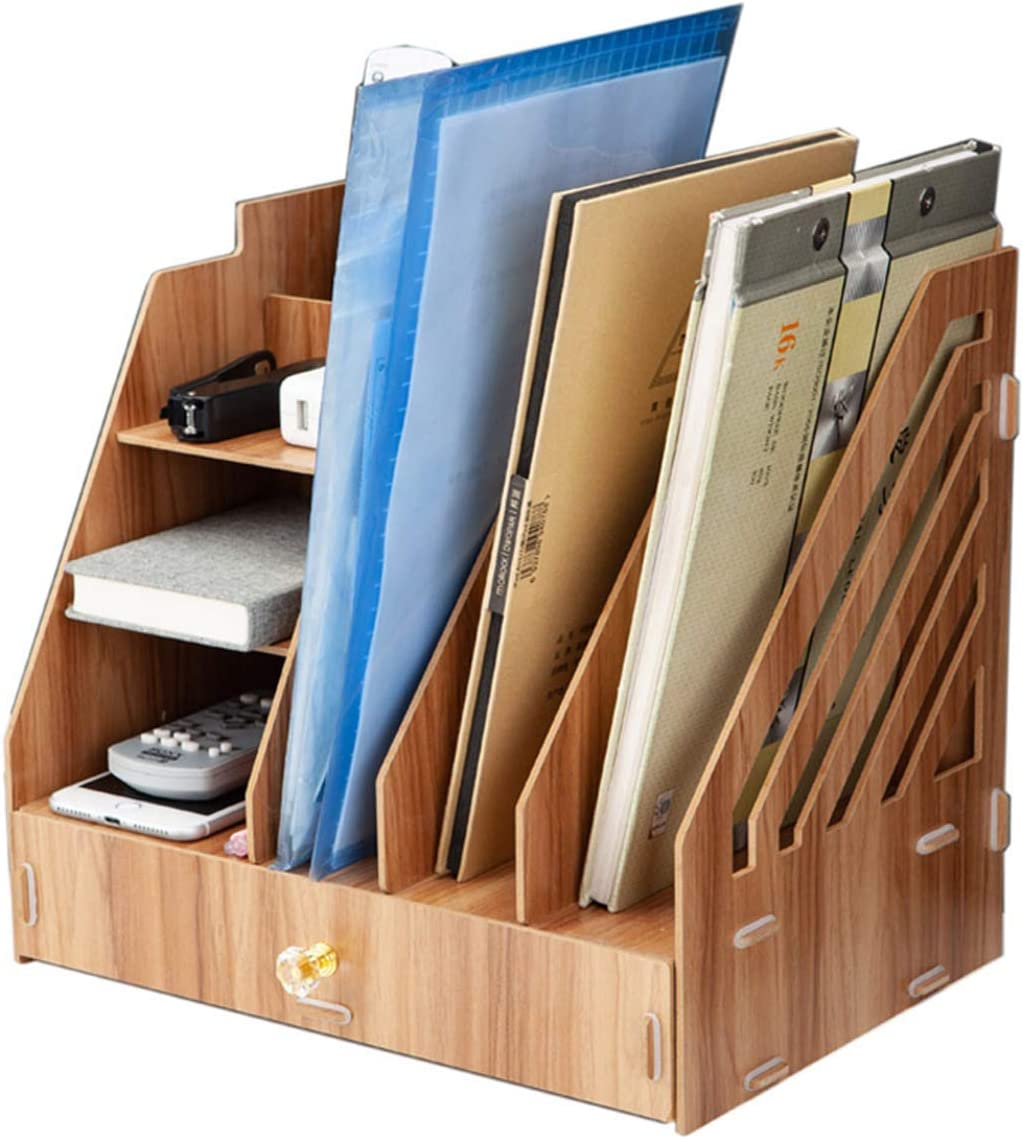 Large Wooden Desk Organizer Storage Multi-Layer Rack, Desktop File Sorter Holder Box Drawer Tray for Notepad A4 Papers Documents Books Mails Desktop Stationary Office Supplies Accessories