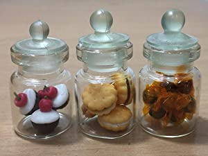 3pc Miniature Cookie Food Cake Candy Dollhouse Cake in Clear Glass Mini Bottle Fruit Mix Lemon #MF082