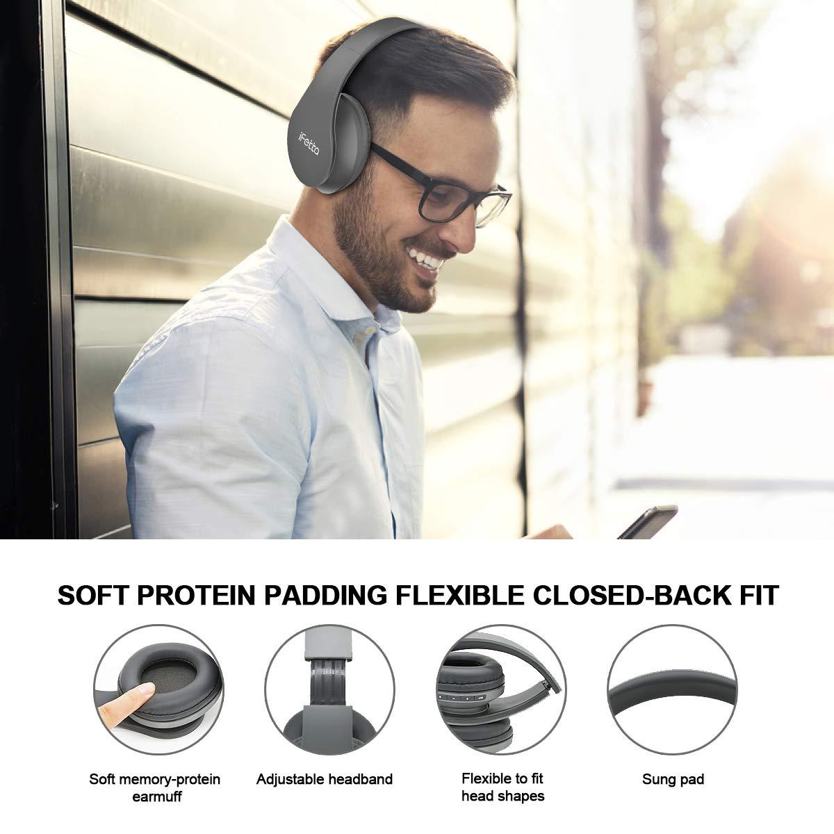 Bluetooth Kopfhörer, Ifecco Bluetooth Headset Wirless Ohrpolster Kopfhörer, Stereo-Headset Sport Hörer Kompatibel mit Allen Gängigen Smartphones/Tablets/Notebooks (Upgrade grau)