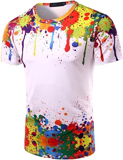Camisas hombre Colorido camiseta hombres con mangas cortas ...