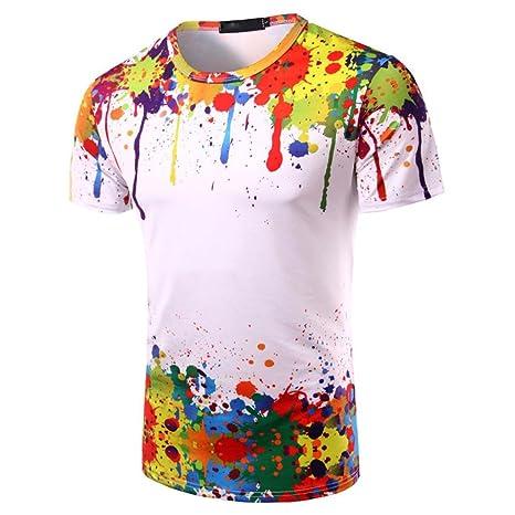 Camisas hombre Colorido camiseta hombres con mangas cortas Manga corta impresa Ronud cuello chico, YanHoo