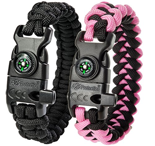 """A2S Protection Paracord Bracelet K2-Peak – Survival Gear Kit with Embedded Compass, Fire Starter, Emergency Knife & Whistle (Black / Pink 8.5"""")"""