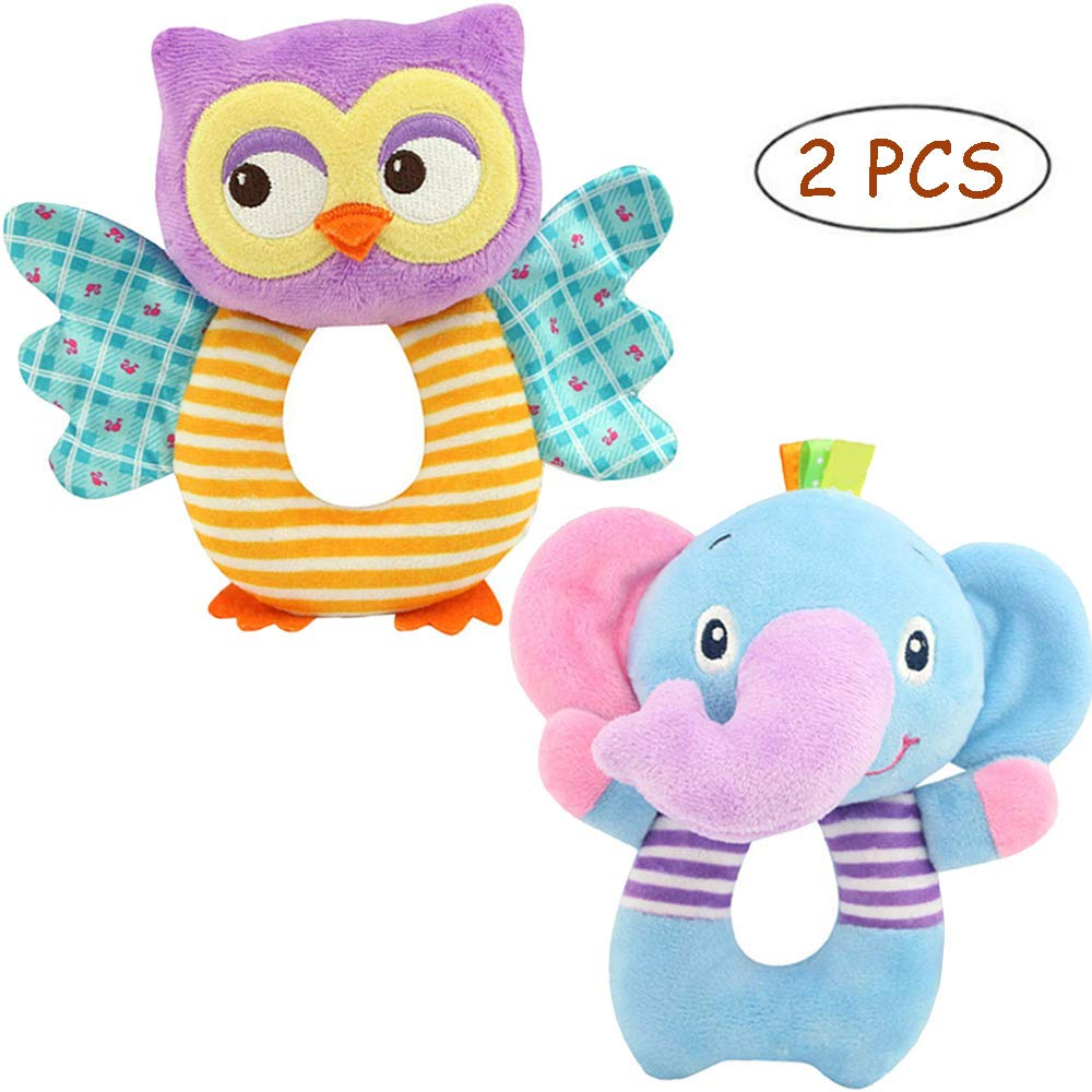FOREAST Hand Grasp Baby Rattles Toys Soft Animal Doll 2 Pcs Set (Elephant Owl) Newborn Gift 0-3 Years Boys / Girls