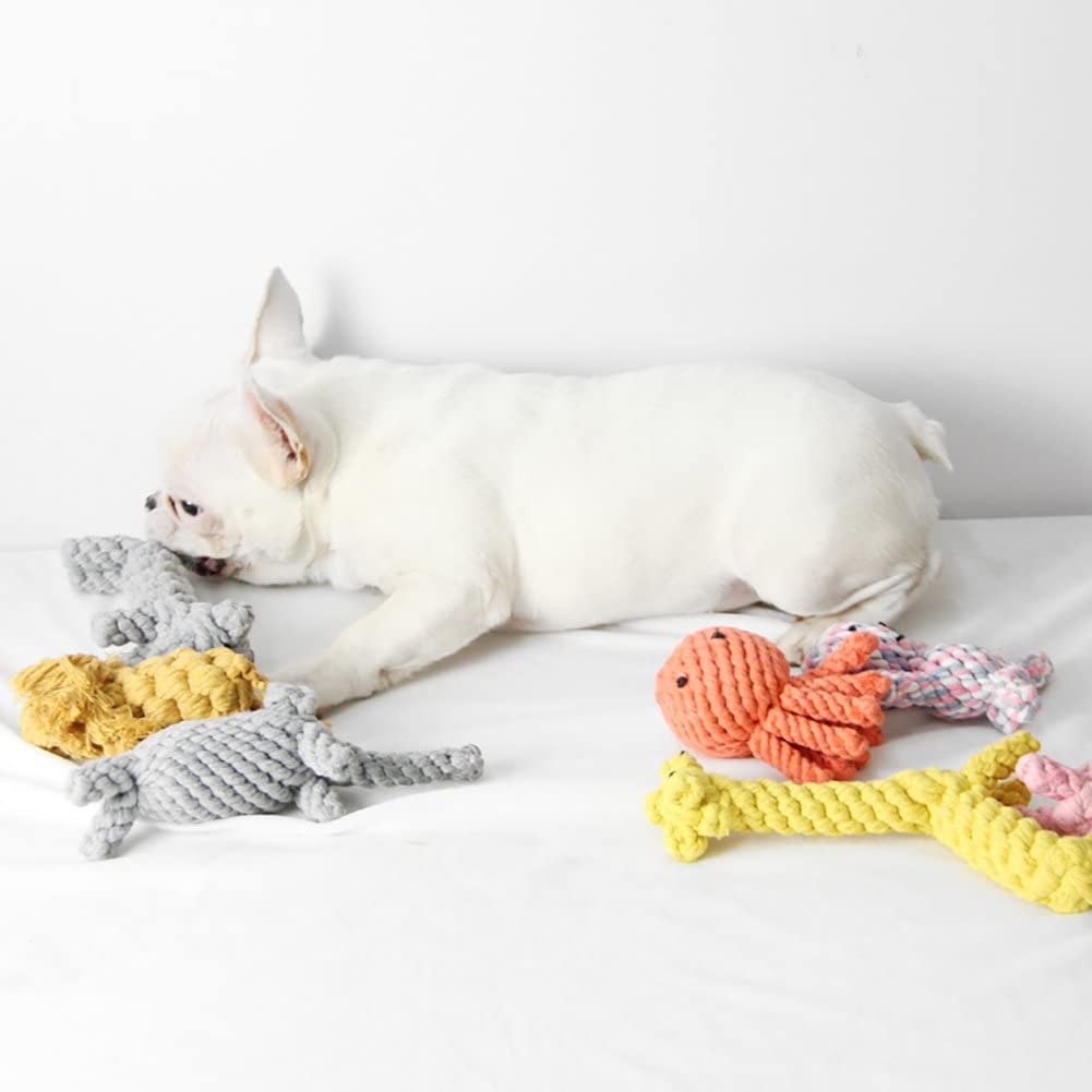 hou zhi liang Pet Rope Chewing Toy Octopus Design Dental Cleaning Toy Interactive Molar Toy Puppy Dog Teething Rope Toy