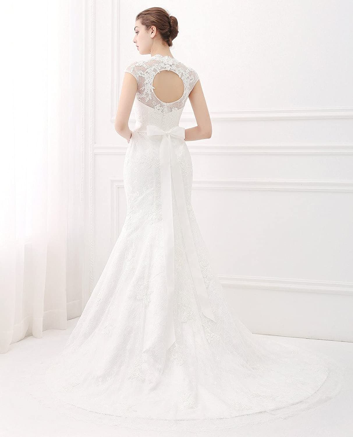 Ubridal Real Pictures Embroidery Lace Mermaid Court Wedding Dresses Bridal Gowns At Amazon Womens Clothing Store